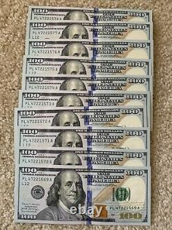10 Consecutive Series 2017 PL 100 Dollar Bills Mint Conditionhard To Find