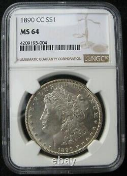 1890-CC Carson City Mint Morgan Silver Dollar NGC MS 64 Hard to Find This Nice