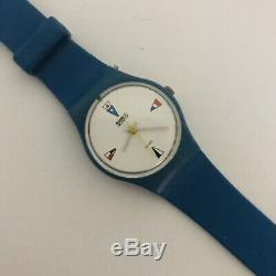 1984 Swatch Watch Vintage 4 FlagsLs100 New Rare Hard To Find Mint Running Box
