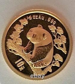 1997 Gold Panda, 10 Yuan, 1/10 Oz, Au. 999, Gold, Mint Condition, Hard-To-Find