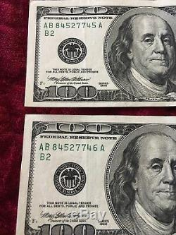 2 Consecutive Series 1996 AB 100 Dollar Bills Mint Conditionhard To Find