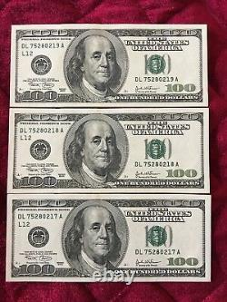 3 Consecutive Series 2003 DL 100 Dollar Bills Mint Conditionhard To Find
