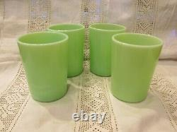 4 Vintage McKee Green Jadite Thick Glass Tumblers MINT Rare and Hard to Find
