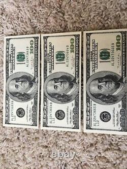 5 Consecutive Series 1996 AL 100 Dollar Bills Mint Conditionhard To Find