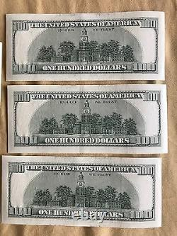 5 Consecutive Series 2006 KF 100 Dollar Bills Mint Conditionhard To Find