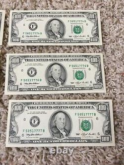 7 Consecutive Series 1993 F 100 Dollar Bills Mint Conditionhard To Find
