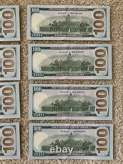 8 Consecutive Series 2009 LL 100 Dollar Bills Mint Conditionhard To Find