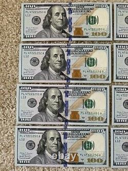 8 Consecutive Series 2017 PL 100 Dollar Bills Mint Conditionhard To Find