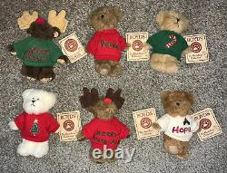 BOYDS BEARS LOT OF 6 Mini Message Bears-NWTS, Hard to Find & Adorable