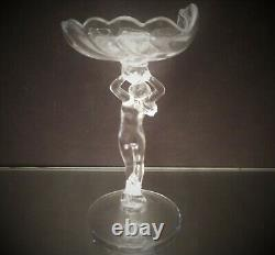 Cambridge Glass Clear Mint Nut Dish Nude Stem Shell Dish Hard to Find
