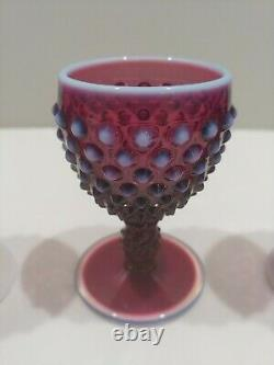 Fenton PLUM OPALESCENT Hobnail Wine Goblet Cordial HARD TO FIND Lot of 5 EXC