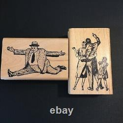 LOT of 8 Vintage KEN BROWN Rubber Stamps All People Some Hard to Find 3 Unused