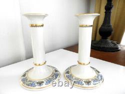 Lenox China AUTUMN Tall Candlesticks PAIR Gold Backstamp Hard to Find MINT