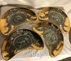 Lot of 4 Rare Hard to Find Vintage Medaglioni Fornesetti Milano Dish made ITALY