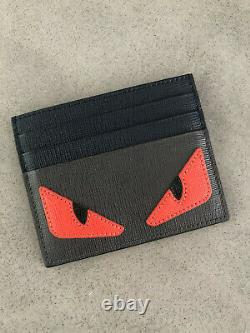 MINT IN BOX AUTHENTIC FENDI Bag Bugs Eyes Black Card Holder HARD TO FIND