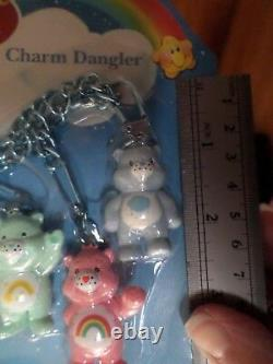 RARE 2003 Care Bear Charm Dangle Set of 8 Keychain Clip ons Figures Hard 2 find