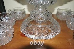 RARE! Antique McKee YUTEC Punch Bowl, Pedestal, 6 Cups Near Mint Hard to Find