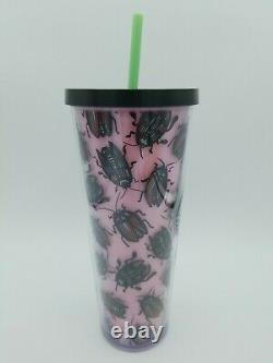 RARE Hard To Find Starbucks Pink Beetle Tumbler Cold Cup Venti 24oz. Near Mint