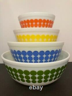 RARE Vintage MINT Pyrex Dots Mixing Bowls 401 402 403 HARD TO FIND 404