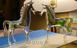 Rare &hard to find lot of 2 clear & green Murano Glass Horse pony ponies ESTATE