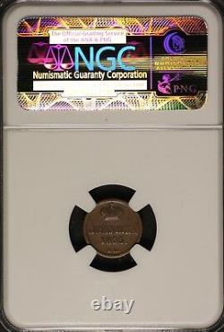Russia Copper Polushka 1/4 Kopek 1855 Bm Au58 Ngc Warsaw Mint Hard To Find