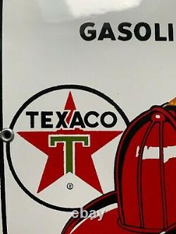 Texaco fire chief porcelain sign 8x 12 extremely rare, hard to find mint cond
