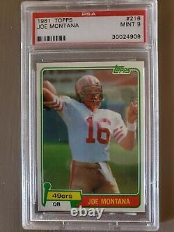 Topps 1981 Joe Montana RC Rookie #216 Football Card PSA 9 MINT Hard to find