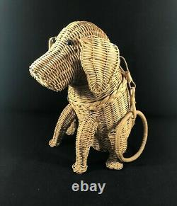 Vintage 1950s Wicker Dog Purse Mint Condition HARD TO FIND